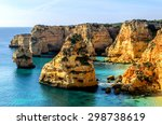 a view of a praia da rocha in... | Shutterstock . vector #298738619