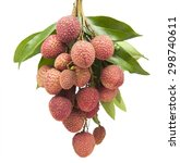 fresh lychees on white... | Shutterstock . vector #298740611