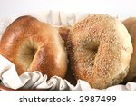 Closeup Of Bagels In A Basket...