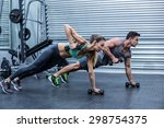 muscular couple doing plank... | Shutterstock . vector #298754375