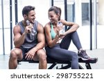 muscular couple discussing on... | Shutterstock . vector #298755221