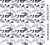 seamless pattern with deers... | Shutterstock .eps vector #298761479