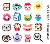 kawaii breakfast food and... | Shutterstock .eps vector #298765721
