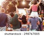 friends having fun in the crowd ... | Shutterstock . vector #298767005
