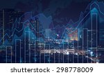 trading graph on the cityscape... | Shutterstock . vector #298778009