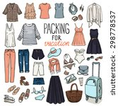summer travel luggage. packing... | Shutterstock .eps vector #298778537