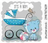 greeting card it's a boy with... | Shutterstock .eps vector #298787609