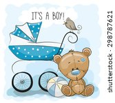 greeting card it's a boy with... | Shutterstock .eps vector #298787621
