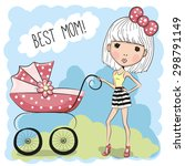 greeting card best mom with... | Shutterstock .eps vector #298791149