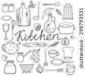 hand drawn cookware  set.... | Shutterstock .eps vector #298793531