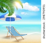 beach with palm clouds sun... | Shutterstock . vector #298793951