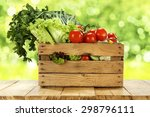 decoration of wooden box on... | Shutterstock . vector #298796111