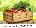vegetables in wooden box on...   Shutterstock . vector #298796129