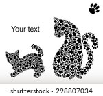 silhouettes of a cat with a... | Shutterstock .eps vector #298807034