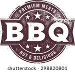 vintage bbq barbecue menu stamp | Shutterstock .eps vector #298820801