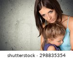 child  mother  sadness. | Shutterstock . vector #298835354