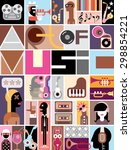 musical collage of various... | Shutterstock .eps vector #298854221