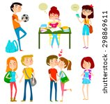 collection of happy teenagers... | Shutterstock .eps vector #298869611