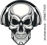 skull with headphones | Shutterstock .eps vector #298877435
