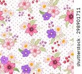 seamless cute floral vector... | Shutterstock .eps vector #298901711