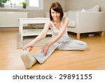 young woman doing exercises in... | Shutterstock . vector #29891155