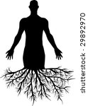 man's silhouette with roots | Shutterstock .eps vector #29892970