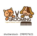 Stock vector creative rigorous logo grooming pets 298937621