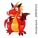 cartoon funny red dragon on the ... | Shutterstock .eps vector #298939151
