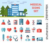 medical flat vector icons set.... | Shutterstock .eps vector #298949984