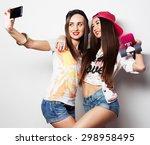 sporty girlfriends standing... | Shutterstock . vector #298958495
