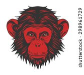red monkey head | Shutterstock .eps vector #298961729