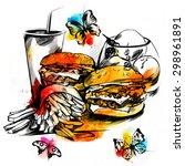 fast food  | Shutterstock . vector #298961891