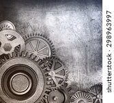 metallic gears background | Shutterstock . vector #298963997