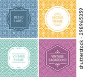 set of vintage frames in violet ... | Shutterstock .eps vector #298965359
