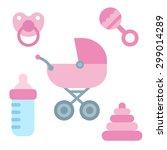 cute cartoon newborn baby items ... | Shutterstock .eps vector #299014289