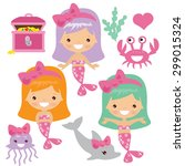 mermaids vector illustration | Shutterstock .eps vector #299015324