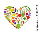 heart from healthy food. green... | Shutterstock .eps vector #299025971
