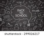 back to school doodles in... | Shutterstock .eps vector #299026217