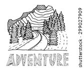 hand drawn labels for adventure ... | Shutterstock .eps vector #299027909