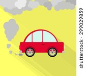 car fuming. red car steaming... | Shutterstock .eps vector #299029859