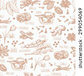 seamless pattern with spices on ... | Shutterstock .eps vector #299054069