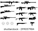 set of various modern weapons ...   Shutterstock .eps vector #299057984