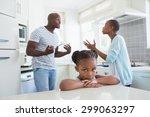 couple having an argument in... | Shutterstock . vector #299063297