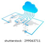 world cloud computing concept ... | Shutterstock .eps vector #299063711