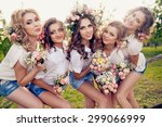 beautiful girls hen party with... | Shutterstock . vector #299066999