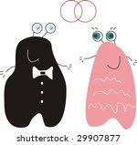 wedding. happy amorous monsters | Shutterstock . vector #29907877