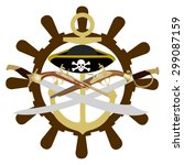 hat  anchor and antique weapons ... | Shutterstock .eps vector #299087159