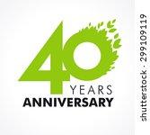 40 years old celebrating green... | Shutterstock .eps vector #299109119