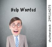 geeky businessman against grey... | Shutterstock . vector #299114075