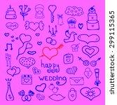 wedding set doodle cute | Shutterstock .eps vector #299115365